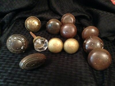 Vintage Large Lot Door Knobs Glass Metal