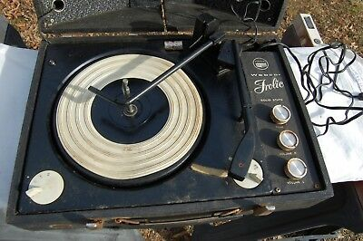 Vintage Webcor Turntable Record Player Model Frolic   Cool foldout  speakers