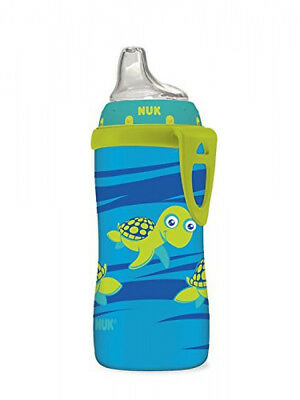 Nuk Active Cup Baby Transition Feeding Bottles Blue Turtle Silicone Spout 10Oz