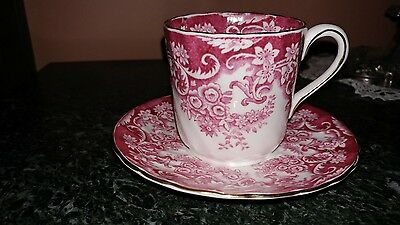 Vintage Bone China Demi Cup Saucer Tuscan Fine English Dark Pink floral  D2785
