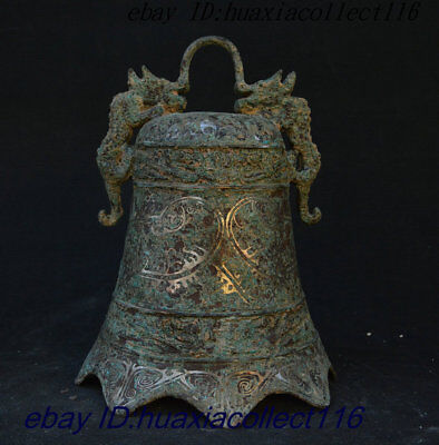 """10"""" China Rare Copper Bronze Double God Beast Exorcism Bell Clang Handleless Cup"""