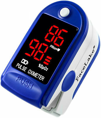 Pediatric Pulse Finger Oximeter Baby Children Adult Digital Display Case Blue