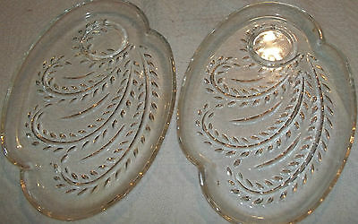 Matching Pair Of Old Heavy Pressed Glass Snack Plates Pretty