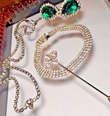 Nice Antique Vintage Rhinestone Choker Necklace Glass 1928 Pin Bracelet + Lot