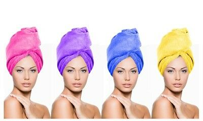 Microfibre Hair Drying Towel Wrap Turban Head Hat Bun Cap Shower Dry Microfiber