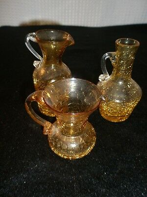 Set Of 3 Yellow Crackle Glass 2 Pitchers And 1 Oil Holder
