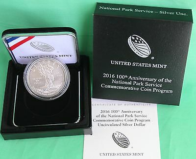 2016 100th Anniv National Park Service BU Silver Dollar US Mint $1 Coin Complete