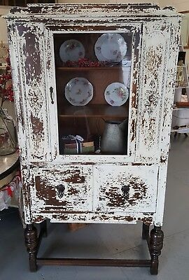 Vintage Sweet Cream Ivory China Cabinet Milk Paint Chippy Look Antique Hutch