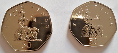 1983 - 2008 Royal Mint Britannia fifty pence 50p coins Brilliant Uncirculated UK