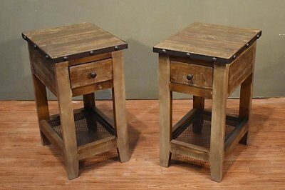 Pair of Addison Rustic Solid Wood Brown Side Table Nightstand with one drawer