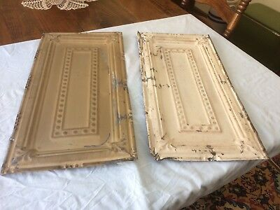 (2) Antique Vintage Shabby Chic Tin Metal Art Deco Ceiling Tile Panel 12x24 ea.