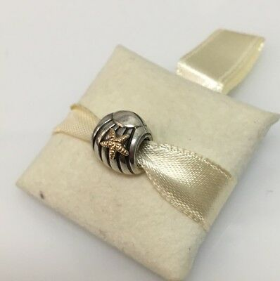 3306a5bec New Genuine Pandora Charm Seashell Sterling Silver w/14k 790249 Retired