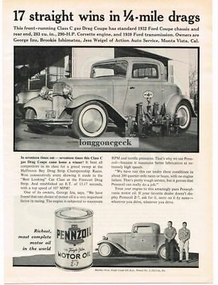 1961 Pennzoil Z-7 Motor 32 Ford Coupe C/Gas Dragster George Izu Vtg Print Ad