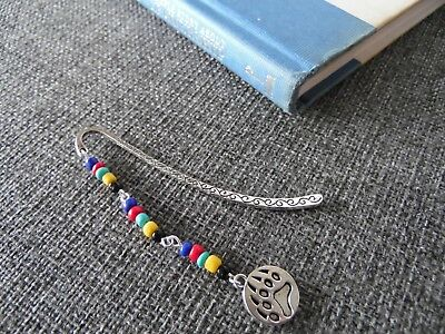 Tribal collection Handcrafted  Bookmark - Bear Paw - Multi-color Glass Beads