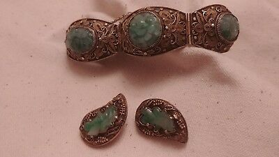 Antique Chinese Export Carved Apple Green Jade Silver Bracelet and Earrings