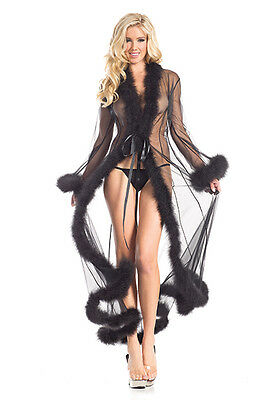 Be Wicked Marabou Trimmed Long Sheer Gown Robe Lingerie 1650