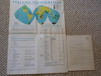 Vintage British Information Services Evolving Commonwealth Reference Map 1964