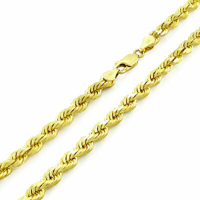 """REAL 10k Yellow Gold Italian 4mm Mens Womens Diamond Cut Rope Chain Necklace 20"""""""