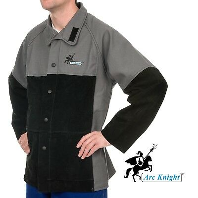 Weldas Arc Knight® Heavy Duty Welding Jacket Cotton and Leather Sleeves