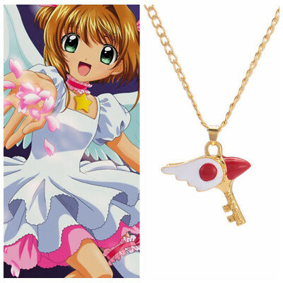 Anime Card Captor Sakura Kinomoto Bird Wings Wand Key Metal Necklace Cosplay