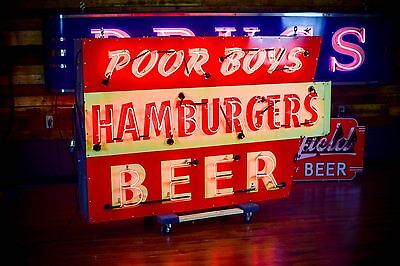 Poor Boys Hamburgers BEER Original Porcelain Neon Sign Dallas Texas Diner HUGE