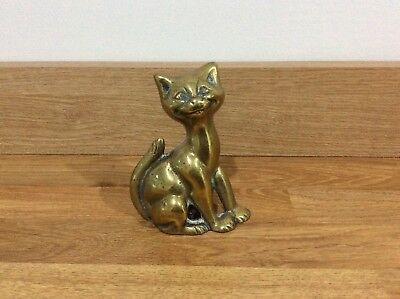 Vintage Brass Cat Poker Stand Fireside Poker Companion Rest Chesire Cat