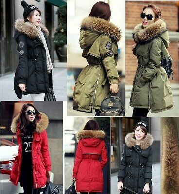 HOT Women Winter Warm down jacket Real Fur Hood Real Duck Down Parka Coat