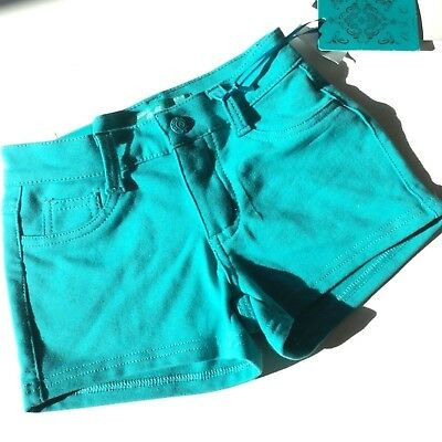 OSC 6X Blue Shorts New Girls Stretch Teal Green Premium Summer Embellish Shorty