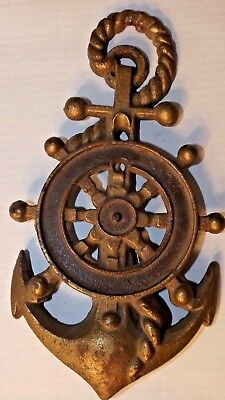 Antique Cast Iron Brass Door Knocker/Anchor Nautical Maritime Bronze Bell Holder