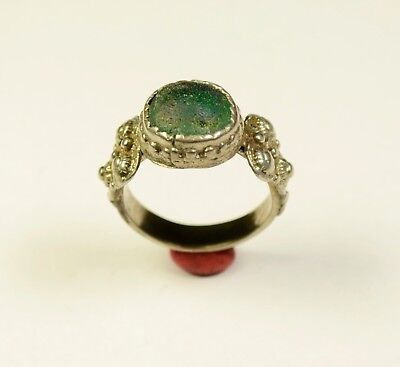 Stunning Post Medieval Period Ring With Green Stone In Bezel - Wearable