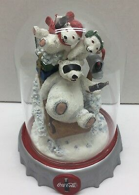 FRANKLIN MINT COCA-COLA Polar Bears SPECIAL DELIVERY Glass Dome 1997 Numbered