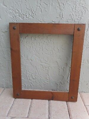 Antique Vintage 1920's Solid Wood Mission Arts Craft Style Frame w/Brass Studs