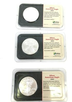 LOT of 3  2003 Uncirculated  Silver American Eagle Coins 99.93% Silver  93 Grams