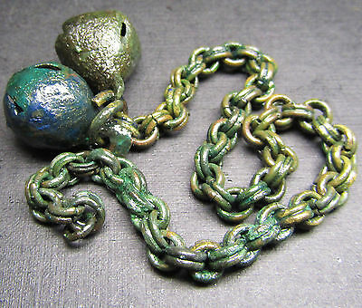 Ancient  Bronze Viking Chain Decoration.Bell.x 2! (M1).