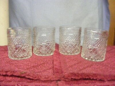 6 Ah Wexford Glasses - Rare - Round  At Bottom - Same As Top