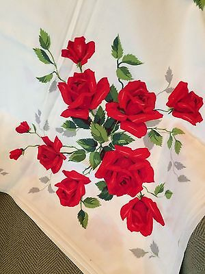 VINTAGE  SQUARE COTTON TABLECLOTH RED ROSES 52 x 52