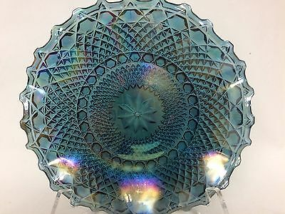 Vintage  Indiana Carnival Glass Hostess Plate Irridescent Blue