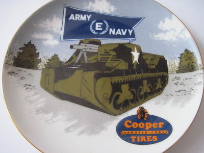 Vintage Cooper Tire  Armored Cord Porcelain  Plate ARMY NAVY award Findlay Ohio