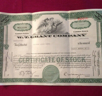 Vintage STOCK certificate W.T. GRANT CO