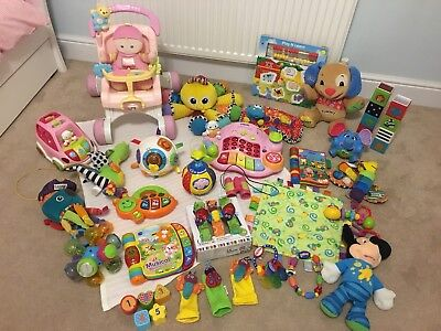 HUGE BUNDLE OF BABY TODDLER TOYS VTECH FISHER PRICE LAMAZE VGC RRP ££££s