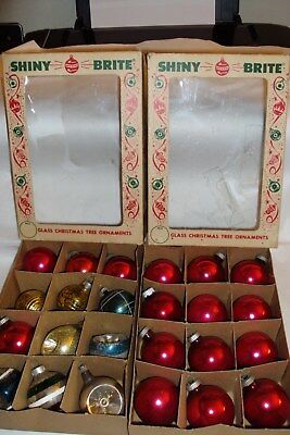 """Vtg Glass Ornament Lot of 24 (1 3/4"""") w/ Shiny Brite, Indents, & Old Boxes"""