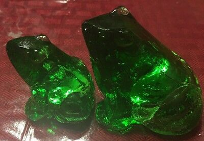 Set Of TWO GANZ Green Glass Frogs L@@k!!