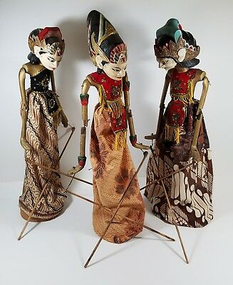 Antique/Vintage Indonesian Stick Puppet Wayang Golek Rama Puppets WITH STANDS!