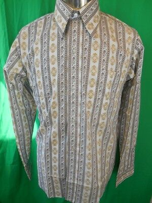 Vintage 60s 70s Brown Patterned Blue Sea Dress Shirt New/Old Stock Never Worn S