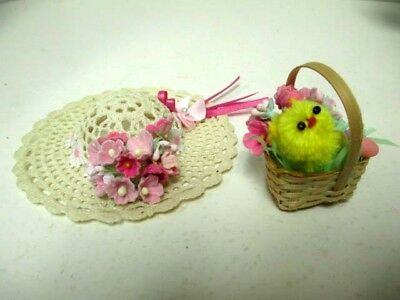 Pretty Hand Crafted Easter Hat And Basket For Vtg Ginny Muffie Other 8 Inch Doll