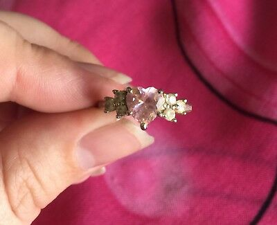 Vintage Antique Silver Pink Clear Stone Crystal Heart Ring Size 8 Estate Find