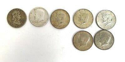 LOT  Silver Half Dollars Franklin And Kennedy  '57 '64 '65' '66 '97  82.27 Grams