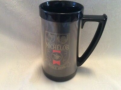 VINTAGE~MICHELOB~Thermo-Serv Beer Mug~Black~Double Sided Logo