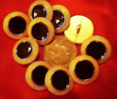 10 Old Heavy Metal Buttons. Black Center with Gold Color Borders. Vintage. Set.
