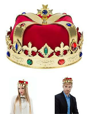 Party King Royal Medieval Red Golden Men Crown Costume Queen Prince Adult Kid N